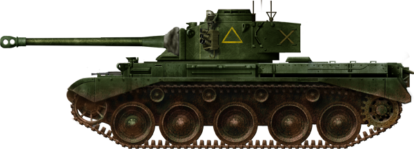 The 3rd Royal Tank Regiment Comet tank names were painted on the front hull lower glacis plate.
