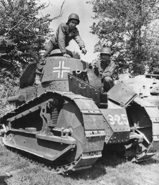 PanzerKampfwagen 18R 730(f) recaptured by Allied forces in France.
