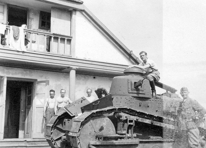 PanzerKampfwagen 18R 730(f) used for rear area defence. Luzk town, Wolhynien area, Ukraine, Soviet Union, 1943.