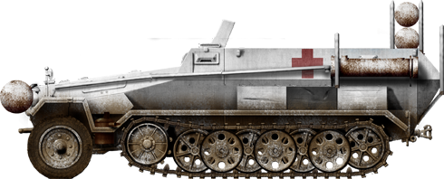 Sd.Kfz.251/1 Red Cross ambulance powered by Stadtgas