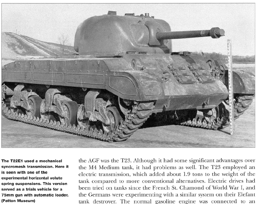 T22E1 with a synchromesh transmission, experimental HVSS and 75 mm (2.95 in) cannon fitted with an autoloader.