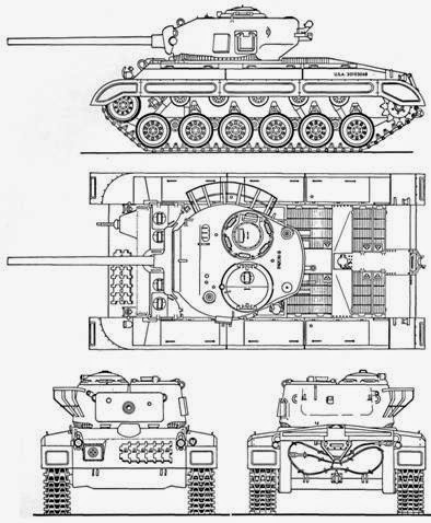 T23E3 prototype blueprint - Source: Pershing: a history of the medium tank T20 series