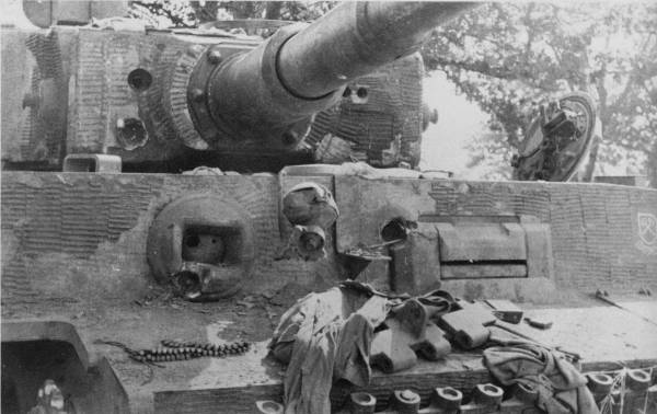 Battle damaged Tiger showing resilience of material to combat damage