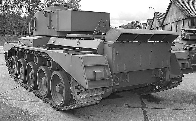 This shows the one piece Normandy exhaust cowling on the A34 Comet tank. The smoke dischargers and infantry phone box are missing