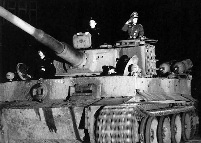 Stadtgas powered German tank school Tiger on parade. The gas cylinders are at the back.