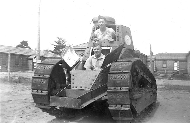 Driver and Commander positions in the Canadian Army M1917 training tank. They turret gun has been moved to point to the rear.
