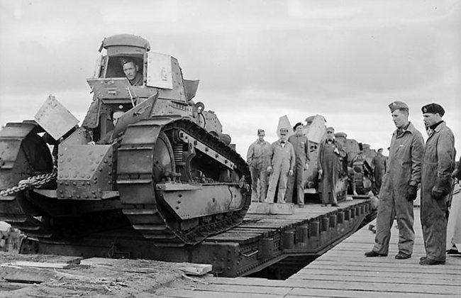 US M1917 light tanks arriving in Canada October 1940.