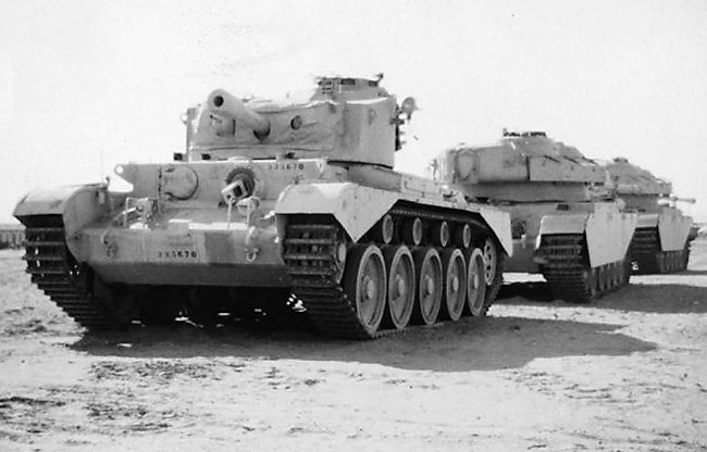A Comet tank behind two Centurion tanks in the Middle East, 1948. The Centurion tank replaced the Comet tanks - Photographer unknown