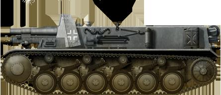 The 15 cm sIG 33 auf Fahrgestell Panzerkampfwagen II (Sf) in grey livery