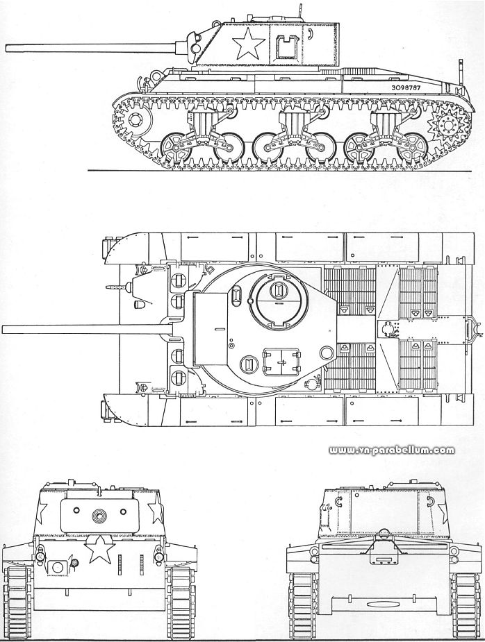 T23 pre-production blueprint - Source: Pershing: a history of the medium tank T20 series