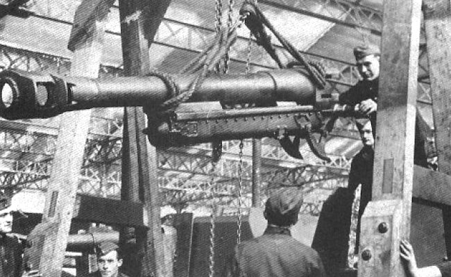 This 10.5cm LeFH 16 gun is being hoisted into position on its new self-propelled gun mount.