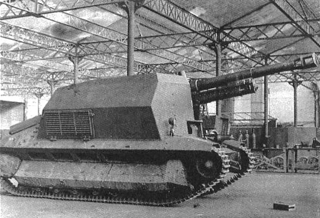 10.5cm leFH 16 auf GW FCM 36(f) awaiting the gun shield to be fitted in the factory workshop run by Major Becker