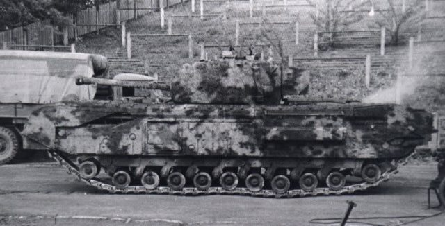 Churchill tank demonstrating the effectiveness of a textured and painted coating as camouflage.