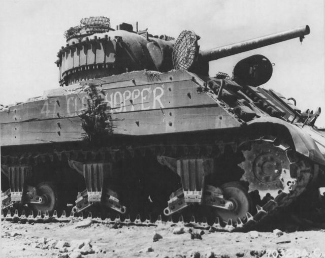 M4 Sherman of 4th Marine Tank Battalion on Iwo Jima showing mesh grills over the hatches.