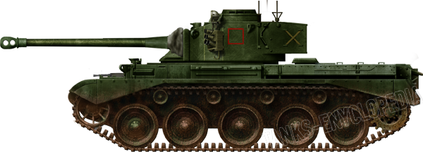 The 23rd Hussars, 29th Armored Brigade squadron markings would be painted in red on the side of the turret.