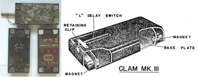 The 'Clam' Magnetic charge. Mk.I had a metal body and the Mk.II was Bakelite but a smaller charge than this Mk.III version.