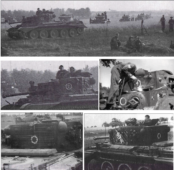 Cromwell tanks of C Squadron, 2nd Northants, Yeomanry, 11th Armoured Division with rubber material glued to turret