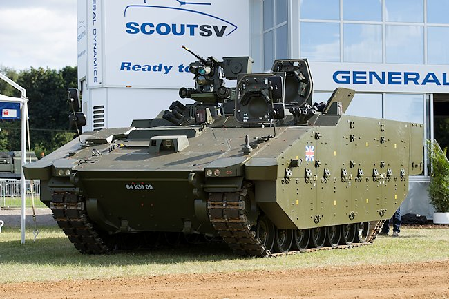 This Ares APC variant is fitted with a double row of bolt-on side armour ant the remot controlled 12.7mm machine gun.
