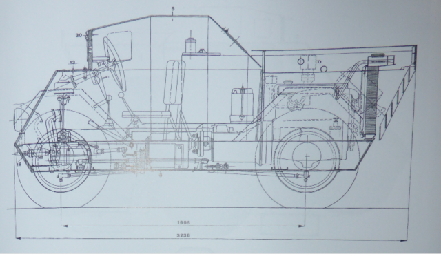 Schematic of the Autoblinda Lince showing the internal layout, including the engine, transmission, steering and crew compartment