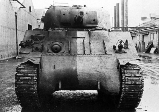 Sherman tank painted half and half with Zimmerit paste