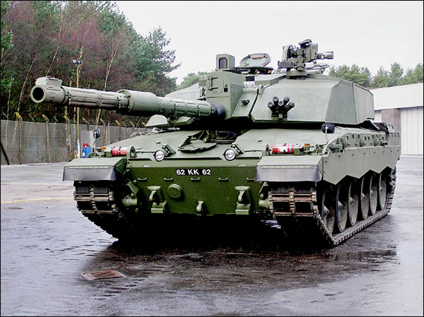 The front of a Challenger II tank