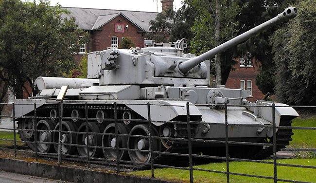 Irish Army Comet tank on display at the Irish Defence Forces training center, Curragh Camp, Ireland.