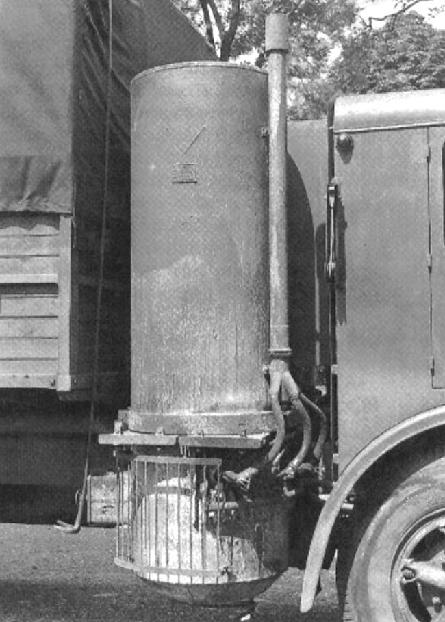 Many German supply vehicles that operated behind the front-line were fitted with wood gas Holzgas burners because of fuel shortages.