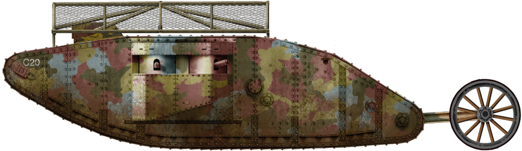 Mark I Female tank No.523, C20 under the command of Lieutenant MacPherson, C Company, Section 4,  Heavy Section Machine Gun Corps (HSMGC)