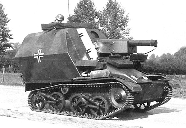 The 10.5cm LeFH 16 auf Geschutzwagen Mk.VI(e) self-propelled artillery gun built on a Vickers Mk.VI light tank chassis