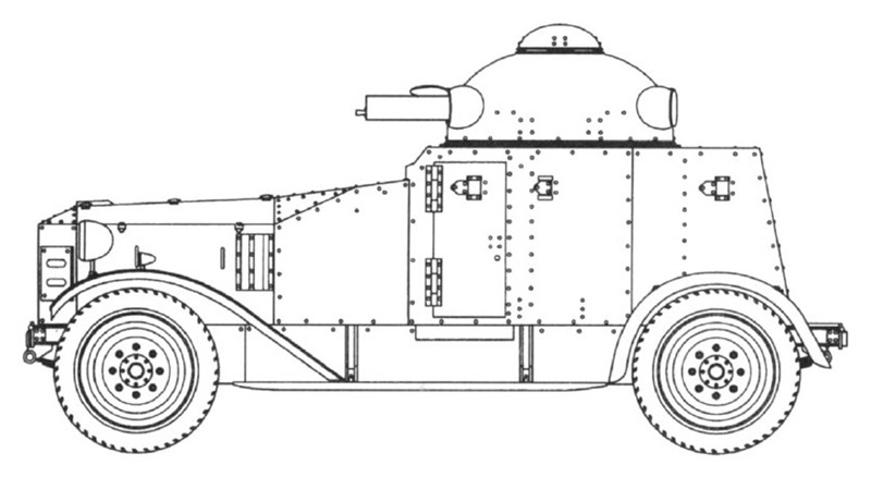 Blueprint of the Crossley Type 2587 (IGA-1 armored car)