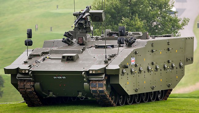 Protected Mobility Reconnaissance Support variant (ARES), was showcased at the NATO Summit at the Celtic Manor, Newport in September 2014