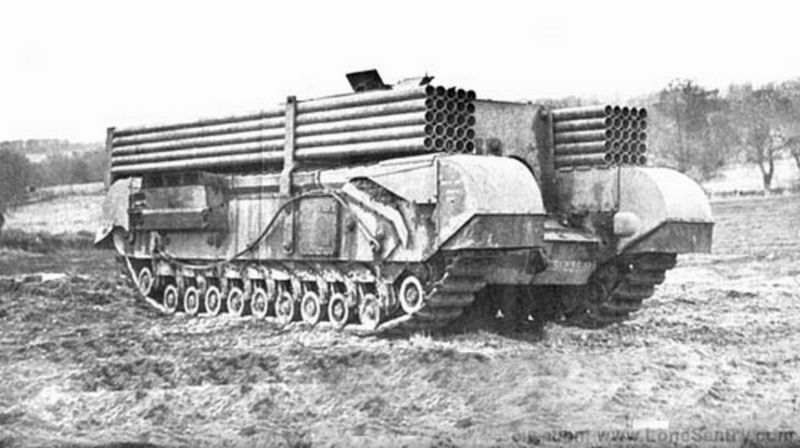 A converted Gun Carrier displaying the 50 Snake mine tubes.