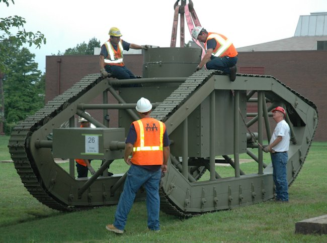 WW1 Pioneer Tractor Skeleton Tank being moved from US Army Ordinance Proving Ground Aberdeen to Fort Lee