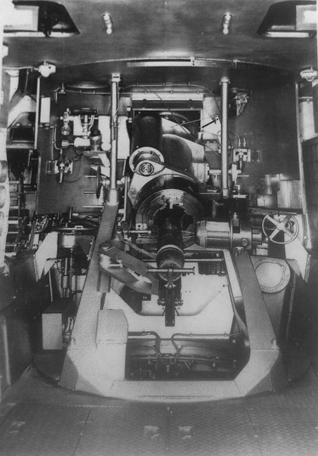 The 5.5 inch QF gun fitted inside