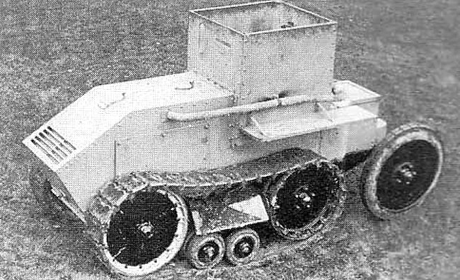 The Morris-Martel One-Man Tankette with armoured front radiator