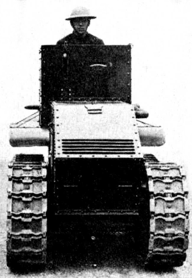 An armoured cover was added to the front of the Morris Martel one-man tankette to protect the radiator.