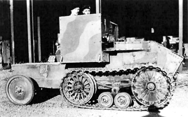 The Morris-Martel Two-man Tankette with two tone camouflage