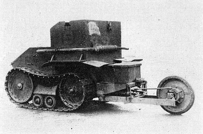 The Morris-Martel Tankette with rear wheel attachment to help it cross undulating terrain