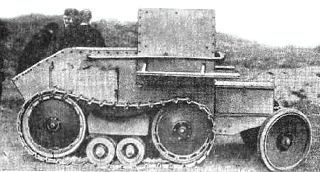 The Morris-Martel One-Man Tankette with armoured wheels