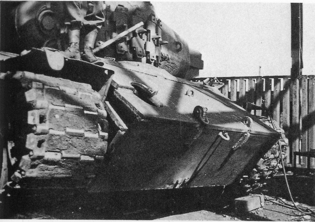 A close up of the frontal spaced armor plates of the tank at Kassel - Photo: Pershing: A History of the Medium Tank T20 Series