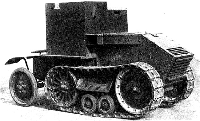 The upper armoured casement superstructure on the Morris-Martel Two-man Tankette was widened to enable two men to sit side by side.