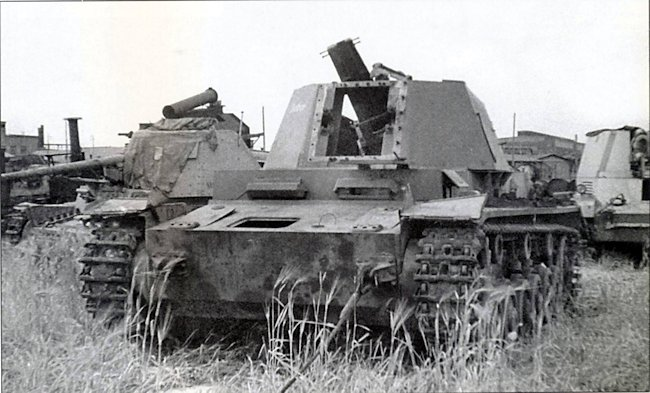 10.5cm leFH 18/1 (Sf) auf Geschutzwagen IVb photographed by US Army Ordenence intelligence unit at the factory proving ground.