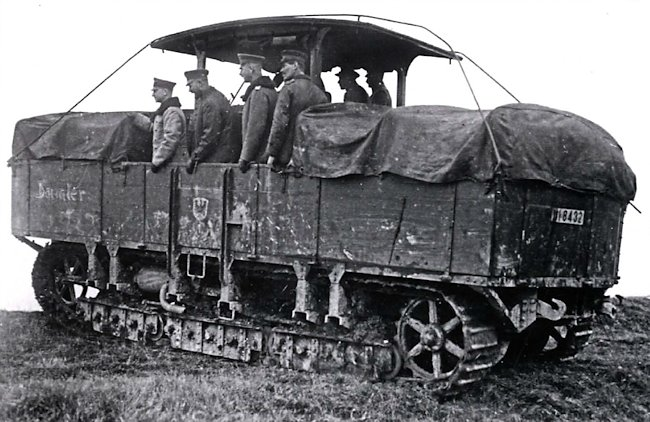 A7V Gelandewagen prime mover bringing supplies to frontline troops