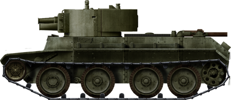 A BT-7 Artillery vehicle with its new turret.