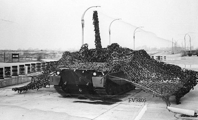 Centurion FV3805 artillery SPG in firing position