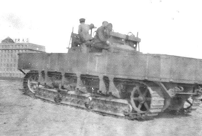 An Überlandwagen A7V undergoing trials at the proving grounds of Daimler-Werkes in Berlin-Marienfelde.