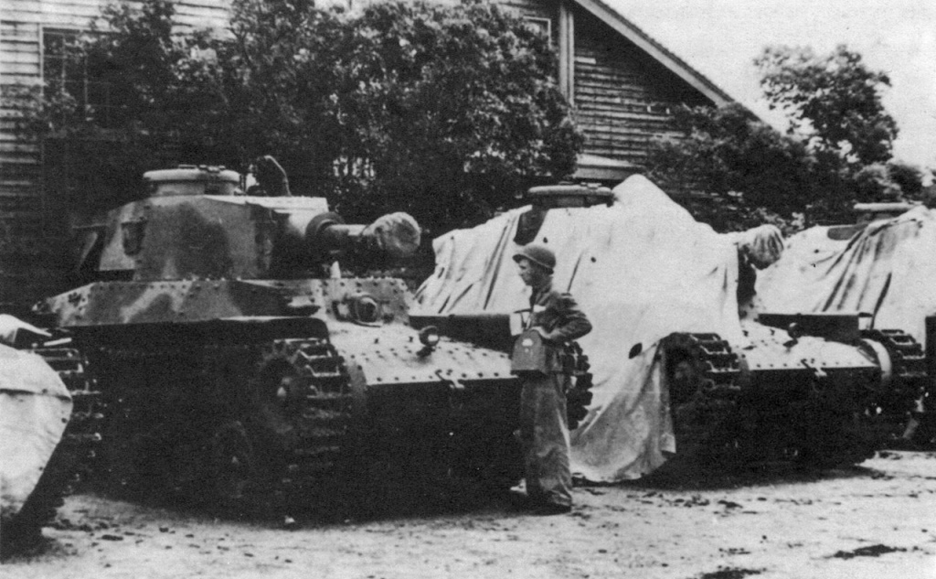 Four 120mm Armed Chi-Ha's at Sasebo, photograph taken by the US Marine Corps on September 22, 1945. Photo: ja.wikipedia.org