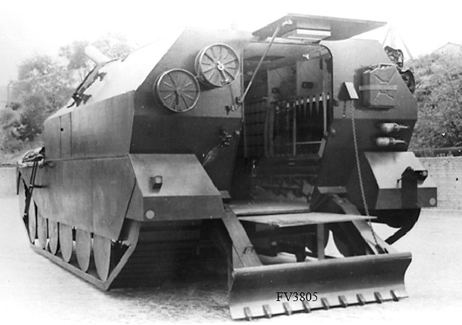 wooden mock-up of the Centurion FV3805 Artillery SPG prototype in firing position