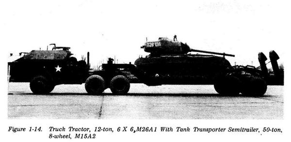 The T26E1-1 vehicle on a tank transporting trailer. This is a photo of the vehicle before it was modified to take the T15E1 gun.