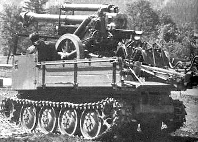 10.5cm Gebirgshaubitze 40 (10.5cm GebH 40) carried on the rear of a RSO/03